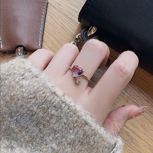 Sweet Heart purple Cubic Zircon Adjustable ring